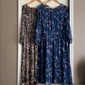 Long sleeve rayon dresses (floral or leopard)